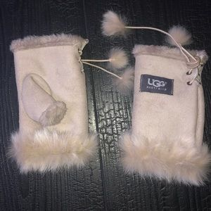 Ugg Australia Fingerless Gloves Tan Leather